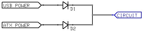 Circuit diagram showing two power sources leading into individual diodes (anode side), with the output of the diodes connected together (cathodes)